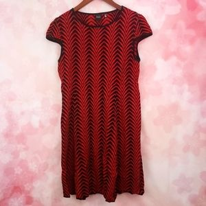 Saks Fifth Avenue Red and Black Patterned Dress
